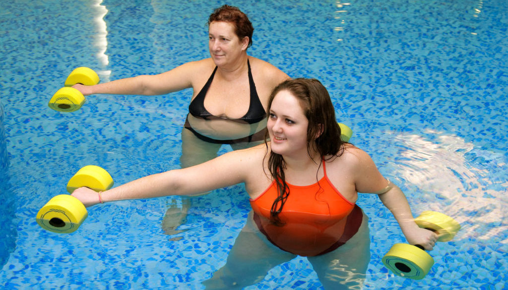 Two woman training in water