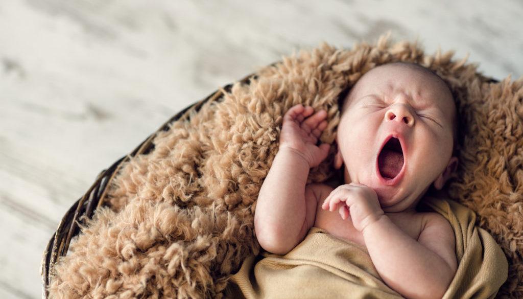 sweet newborn baby yawns